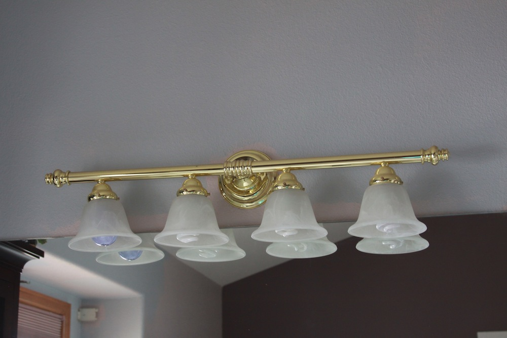 How to paint brass light fixtures by taradara made it bob vila nation for Painting metal light fixture bathroom